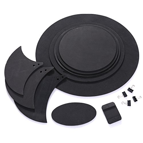 Abicial 10pcs Bass Snare Drum Sound Off Mute Silencer Drumming Rubber Practice Pad Set