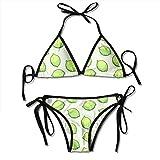 CYEfuzhuang Women Seamless Pattern with Limes Two Pieces Bikini Women's Summer Swimwear Triangle Top Bikinis Swimsuit