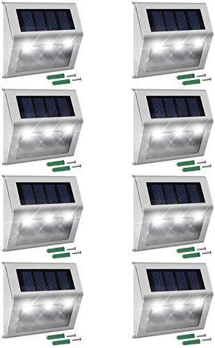 Suny Smiling Solar Step Lights 8-Pack 3 LEDs Solar Powered Weatherproof Outdoor Lighting Stainless Steel for Steps Stairs Paths Patio Decks Walkway Garden Yard #3101