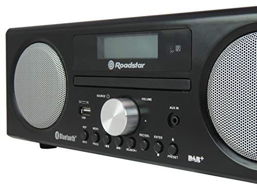 Roadstar HRA-9D+BT Digitalradio mit CD-Player und Bluetooth. Aufnahme-Funktion. (DAB, DAB+, UKW, RDS, USB, 75 Ohm Antennenanschluss), max 240 Watt Musikleistung, schwarz lackiert