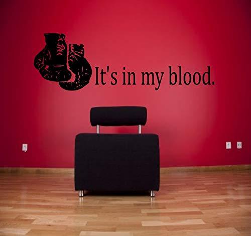 CECILIAPATER Wandaufkleber It's in My Blood Boxing – Sport-Aufkleber, Boxhandschuhe, Kampfsticker, Gewichtsraum, Sport-Wandaufkleber, Fitness-Art
