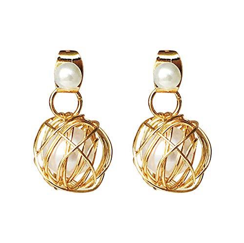 Damen Ohrringe Perlen Design Ohrringe Gold Seide Kugel Hohl Bankett Ohrringe Luxus