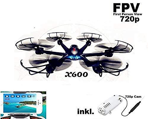 fm-electrics MJX X600w - Wifi FPV-Cam HD Hexacopter mit 300 m Reichweite, Headless Mode und One Key Return, Sonderedition, Looping Funktion, C4010 W-Lan Kamera
