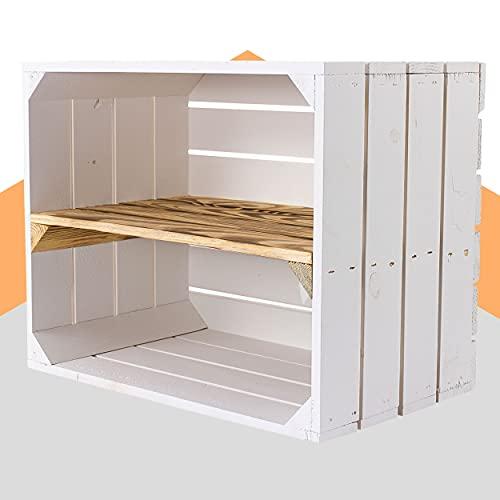 Obstkisten-online Neue weiße Holzkiste mit geflammten Mittelbrett 50cm x 40cm x 30cm