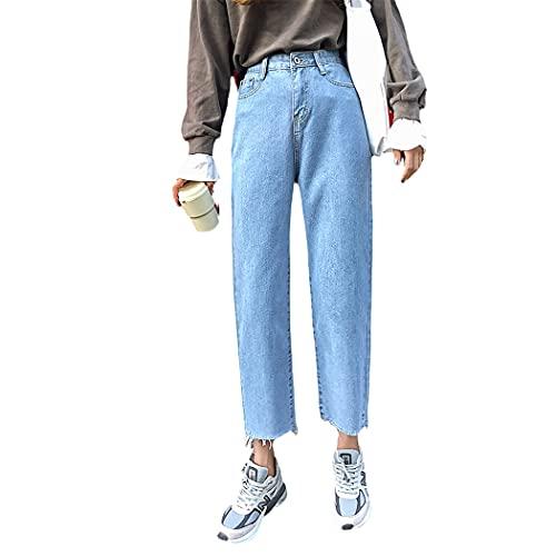 DSDFSVEW - Jeans da donna SkyBlue Mom a vita alta, pantaloni in denim con nappe vintage lavate, casual nero bianco BF Jeans, blu cielo, 60
