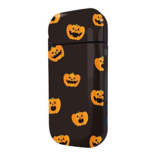 Biijo アイコス シール iQOS シール 表裏 側面 両面 全面対応 ボタンシール付き ジャック・オ・ランタン かぼちゃ (A.ブラック)