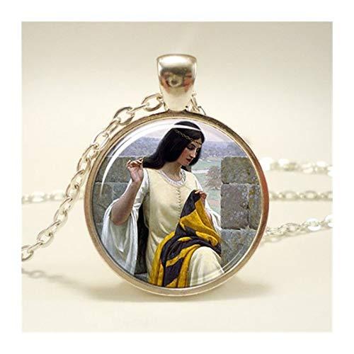 HXSZWJJ Joyería hecha a mano de moda con cadena larga de cristal, colgante de cúpula de génesis mural de imagen, collar de regalo de amistad (color metálico: 3)