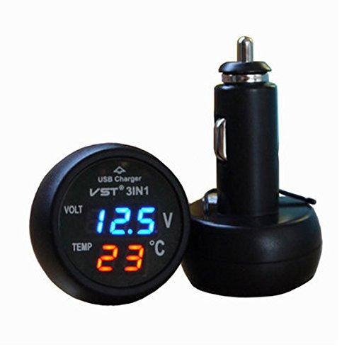 UEB 3in1デジタル電圧計温度計USBカーチャージャー プラグアンドプレイ カー SUVS トラック バスなど12V/24Vバッテリー対応 全3色ディスプレー (ブルー+レッド)