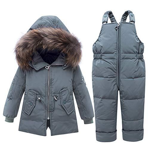 SXSHUN Combinaison de Neige Bébé Fille Garçon Doudoune à Capuche Enfant Ensemble de Ski Manteau de Duvet Hiver Veste Snowsuit 2PCS 1-3 Ans, Gris, 3 Ans / 100