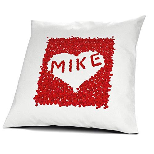 printplanet Kopfkissen Mike, Kissen mit Füllung, Motiv Rosenblätter Herz, 40 cm, 100% Baumwolle, Liebeskissen, Namenskissen, Geschenkidee
