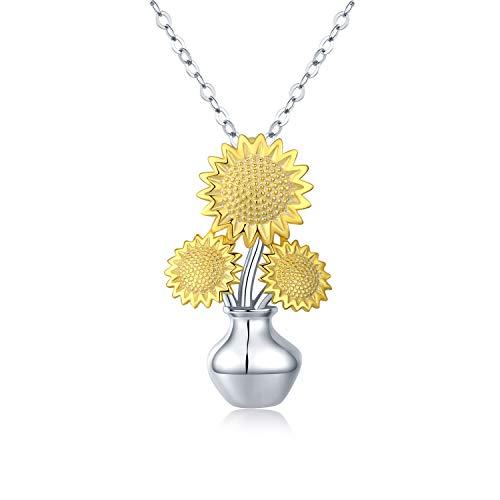 Sonnenblume Kette Damen Halskette 925 Sterling Silber Sonnenblume mit vase Anhänger Halskette Blume Schmuck Geschenk für Frauen