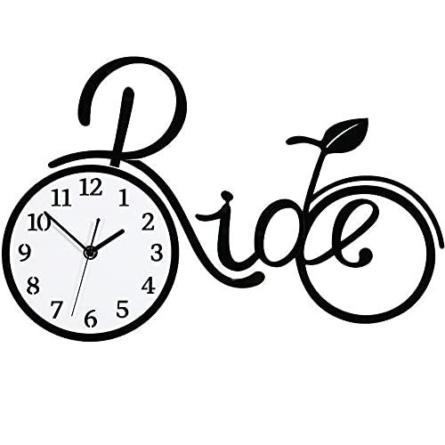 ZTSS Reloj de Pared con Forma de Bicicleta, Relojes de Pared acrílicos silenciosos Que no Hacen tictac, Reloj de fácil Lectura para el hogar/Cocina/Oficina/Escuela Reloj de Pared Decorativo