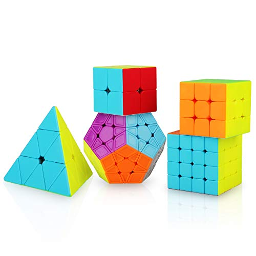 KidsPark Zauberwürfel Set, 5 Stück Magic Speed Cube Set 2x2 3x3 4x4 Puzzle Würfel Pyraminx Megaminx Speedcube, Stickerless Magic Cubes Speed Puzzle Cube für Kinder & Erwachsene