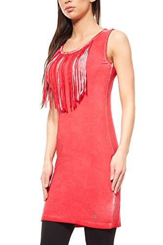 AjC Kleid Damen Mini Fransenkleid Freizeitkleid Jerseykleid Rot, Größenauswahl:40