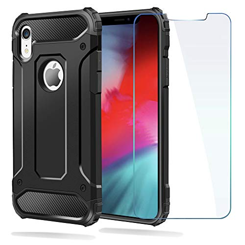 Ewaves_usa iPhone Xr Case, Shockproof Heavy Duty Case with [Screen Protector Tempered Glass] Ewaves Anti-Scratch Armor Protective Impact Resistant Silicone Cover for iPhone Xr, 6.1 inch (Black)