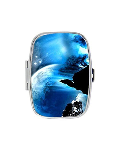 LuxSweet Wolf Under The Blue Sky Custom Fashion Style Rectangle Pill Box Silver Jewelry Box,Coin Purse