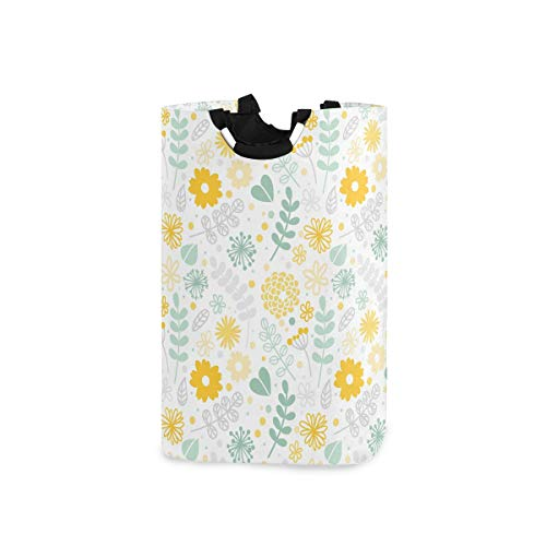 LENNEL para el baño, el Dormitorio, la Ropa, la Papelera de Almacenamiento Grande, la Flor Amarilla con Asas