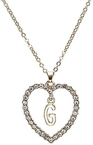 Yaoliangliang Collar Letra Simple Corazón Collar Inicial Colgantes Gargantilla Doble Collar para Mujer