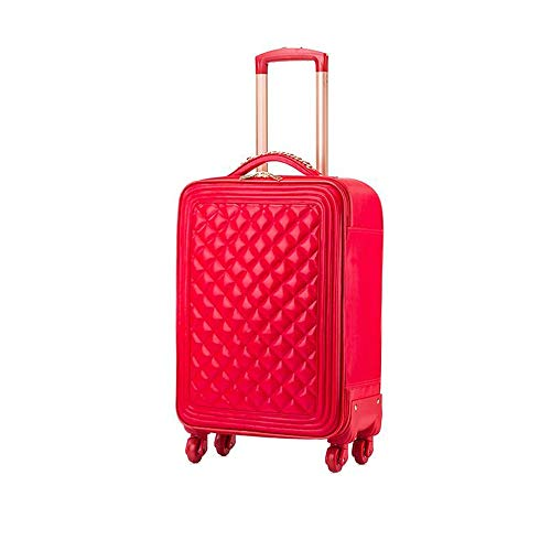 LRHD Portable 4-wheel Carry-on Luggage, PU Leather+polyester Luggage With Aluminum Alloy Tie Rod, 16-24 Inch Waterproof Luggage Suitable for Many Airlines, Business Trip Gifts, Red (Size : 20inches)