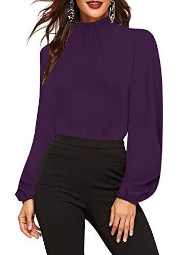 Romwe Women's Elegant Printed Stand Collar Long Sleeve Workwear Blouse Top Shirts Purple Sheer M