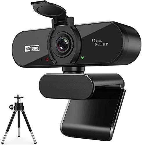 ARVIEMI Webcam - 2021 Streaming 1080P Full HD Web Camera con Microfono, Webcam con la Privacy e Treppiede Videocamera USB, Plug And Play per PC Laptop Skype Studio Conferenza Facetime
