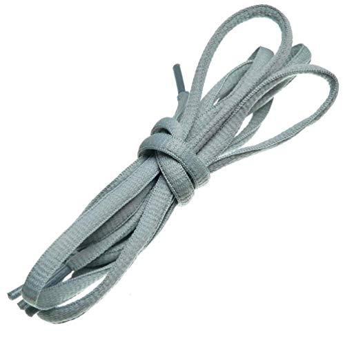 BIRCH's Oval Shoelaces 27 Colors Half Round 1/4' Shoe Laces 4 Different Lengths (29.5' (75cm) - S, Gray)