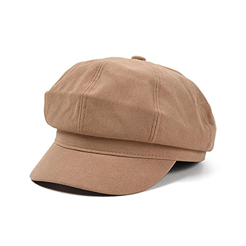 WQZYY&ASDCD Boinas Sombreros Gorras Sombrero Octogonal Casual De Color Puro Sombrero De Cama Simple para Mujer Sombrero Retro Literario-Camel_M (56-58Cm)
