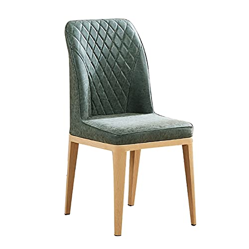 WYGK Esszimmerstühle,Leder Rückenlehnenstuhl Home Hotel Restaurant Bürostuhl für Wohnzimmer Schlafzimmer Lounge-Sessel (Color : Green, Size : Light Wood)