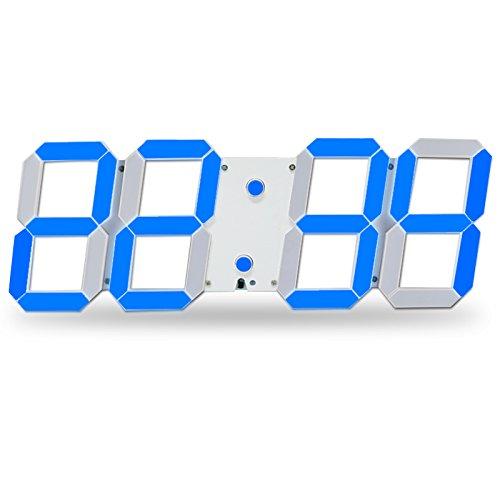 Bestland Große LED Uhr Digitale Wanduhr Fernbedienung Jumbo großen Zahlen 3D Entwurf Wecker mit Thermometer, Kalender, Snooze, Alarm, Countdown, Stunden / Minuten - Weiß/Blau LED Anzeige