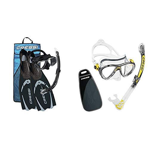 Cressi Pluma Bag, Set per Immersioni, Apnea e Snorkeling Unisex Adulto, Nero/Argento, 43/44 EU & Big Eyes Evolution & Alpha Ultra Dry Professional Combo, Set per Immersioni