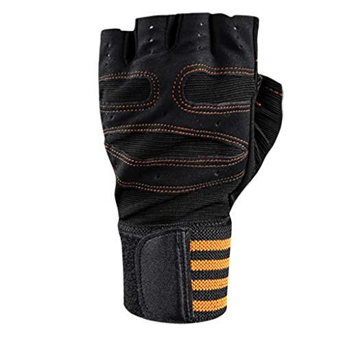 Detrade Reiten Sport Fitness Berg Fahrrad rutschfest Handschuh Mountainbike Halbfinger-Armband Anti-Rutsch-Handschuhe (XL, Yellow)