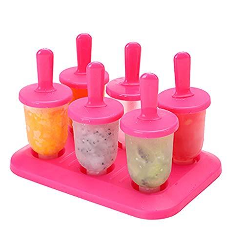 Eariy Mini Sommer DIY Eisformen EIS Am Stiel,mit Popsicle Tablett wiederverwendbar Popsicle Sticks BPA-frei Kunststoff Popsicle Formen,6 Stück (Rot)