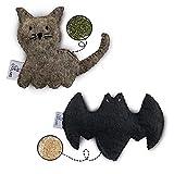 CATLABS nachhaltiges Katzenspielzeug 2er Set 'Kuschelige Katze' und 'Flauschige Fledermaus' mit Katzenminze und Baldrianwurzel | Faire Handarbeit | Natürliche Schafwolle ohne Polyester | Nachfüllbar