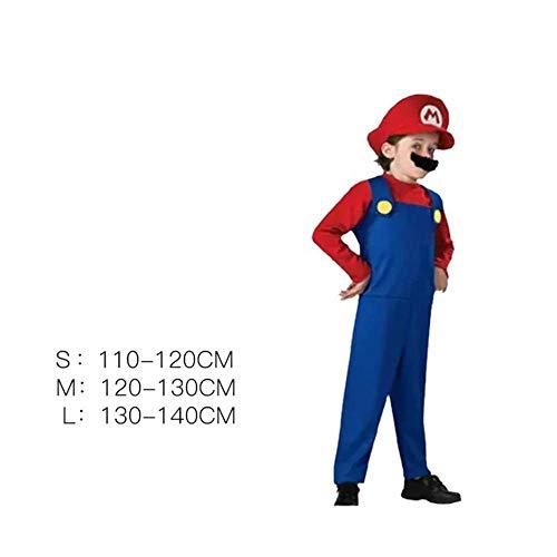 KIDSCOSPLAY Kinder Cosplay Super Mario Kostüm Uniform Halloween-Geburtstags-Thema-Partei-Boy Cosplay Red Child-L