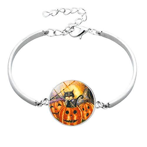 Nicedier 1PC Metal y Vidrio Bolas Pulsera Calabaza de Halloween Gancho Charm Piedras Pulsera de la joyería para Las Mujeres los Hombres Las Necesidades diarias