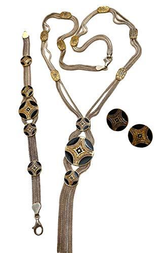 Juego de collar y pendientes de plata de ley 925 otomana turca