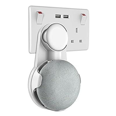 Gelink Socket Wall Mount for Google Home Mini, Nest Mini (2nd gen) Holder Stand Hanger Plug in Kitchen Bathroom Bedroom, Hides the Long Cord (White) by Gelink