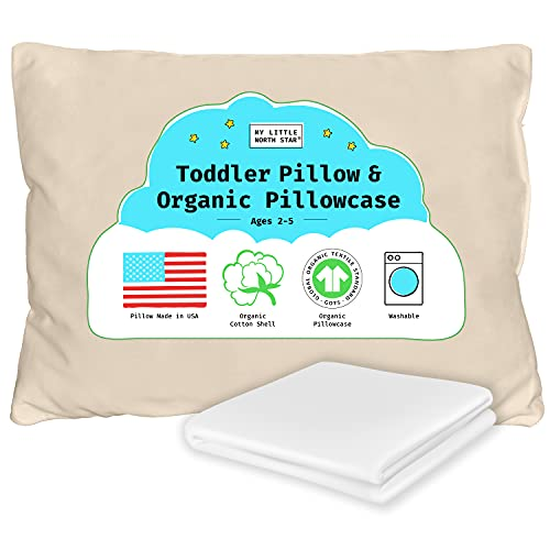 Toddler Pillow, Organic Cotton Shell Made in USA & GOTS Certified Organic Pillowcase, Soft Supportive Washable Kids Pillow White 13X18