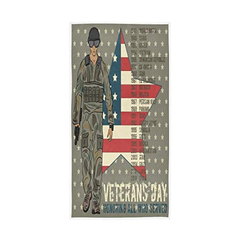 Veterans Day Solider Hand Towels Americam Flag Star Kitchen Dish Towels Soft Quality Premium Fingertip Washcloths Bathroom Decor for Guest Hotel Spa Gym Sport 30 x 15 inches