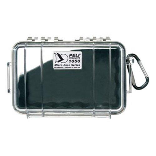 PELI 1050 Micro Case-Kleiner Peli Schutzkoffer für Kamera und Foto, IP67 Wasserdicht, 1L Volumen, Hergestellt in den USA, Transparent/ Schwarze Gummieinlage