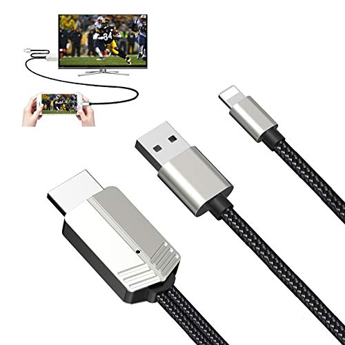Compatible with iPhone to HDMI Cable - 1080P HD Phone to TV Cable Digital AV Adapter for iPhone iPad Connect to TV Projector Monitor -6.6FT Black