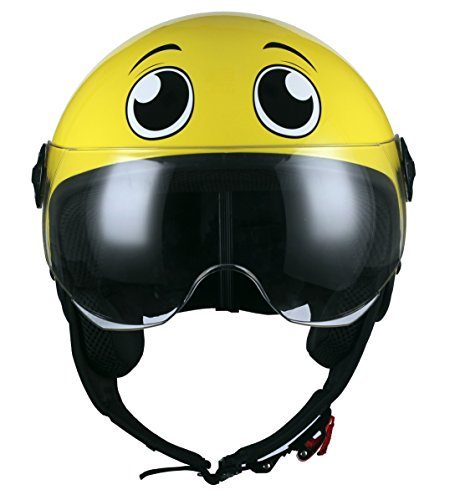 Casco jet amarillo decorado con ojos