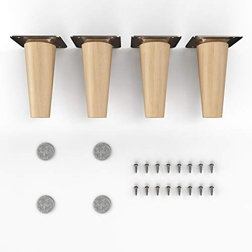 patas para muebles de madera - sossai® Clif | Acabado de aceite | Altura: 10 cm | HMF1 | redondo, cónico (versión recta) | material: madera maciza (haya) | para sillas, mesas, armarios, etc.