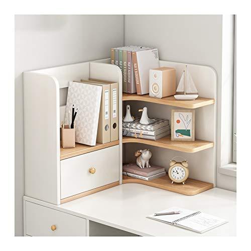 Estante para libros Estantería de escritorio con 1 cajón madera encimera esquina librería oficina suministros de oficina ahorro espacio escritorio organizador accesorios exhibición Estantería de decor