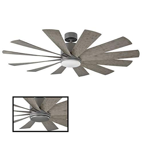 Ventilateur de plafond intelligent intérieur / extérieur à 12 pales Windflower 60 pouces graphite avec éclairage LED 3000K ...