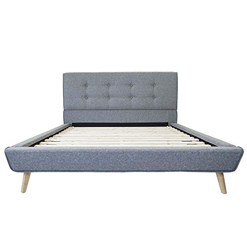 Divano Roma Furniture Mid-Century Platform, Full, Grey