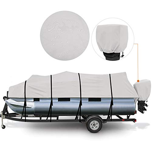 RVMasking Upgraded Waterproof Ripstop 800D Trailerable Pontoon Boat Cover Fits 17-20 Ft Pontoon Boat, Include Motor Cover