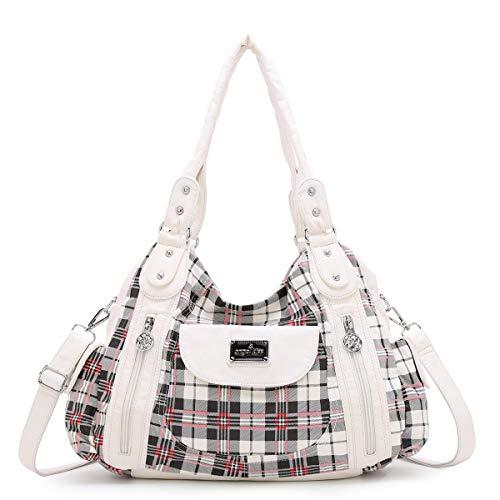 Angel Kiss Roomy Fashion Hobo Womens Handbags Ladies Purse Satchel Shoulder Bags Tote Washed Leather Bag (A-AK812-5P#1894#87#White/White)
