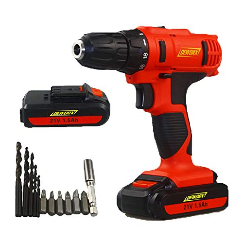 21V Cordless Drill Electric Power Drill Driver 2 Speed Combi Drill with 12Pcs Accessories Kit, LED Working Light