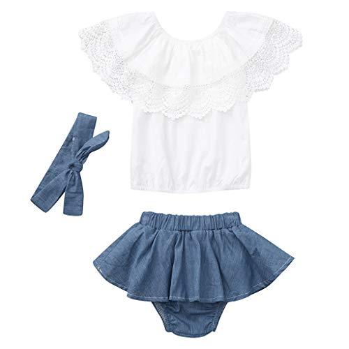 HWTOP Baby Mädchen Outfit Set Spitze Rüschenoberteil + Romper Jeansshorts Kleid + Stirnband Kleidung, Blau, 12-18 Monate